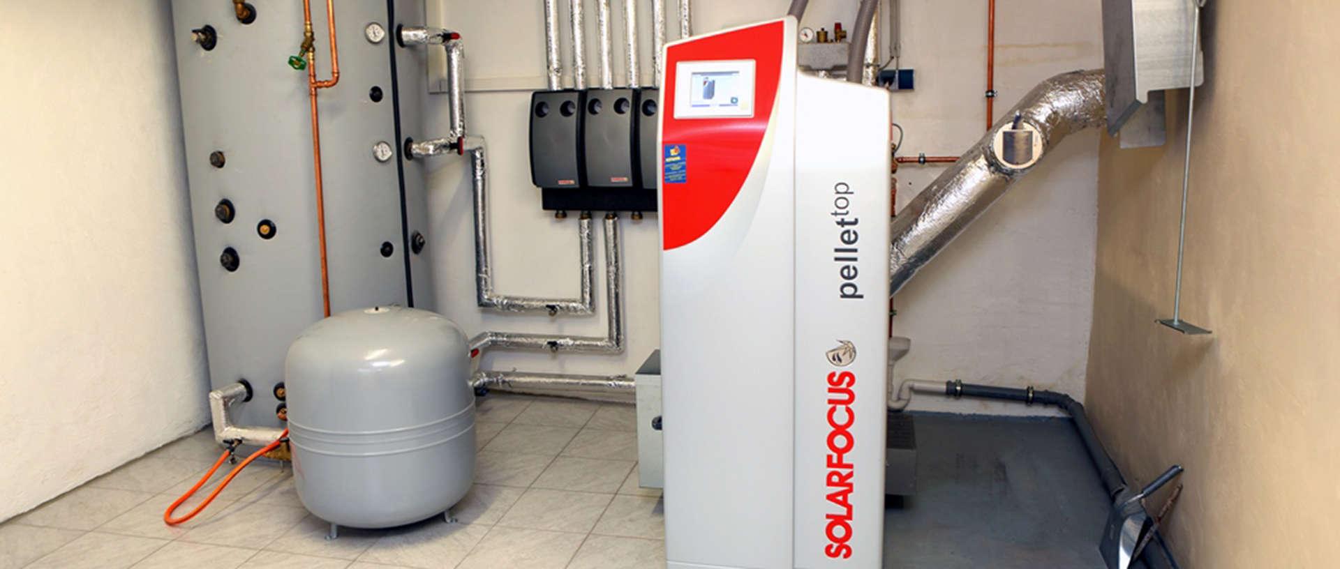 Wood pellet central heating boiler